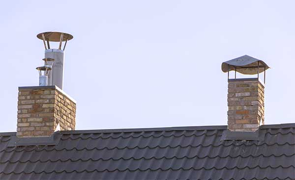 Toms River chimney service, Picture of 2 chimneys on roof